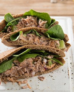 Lunch: Tuna Salad Pita Pockets - #Tuna is an amazingly #healthy #fish full of #Omega 3 and a good dose of #Vitamin D too.Use in Tuna salad #sandwiches and on wholewheat crackers.