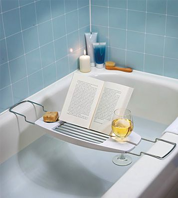 every girl needs this. Wine and book holder for the bathtub.