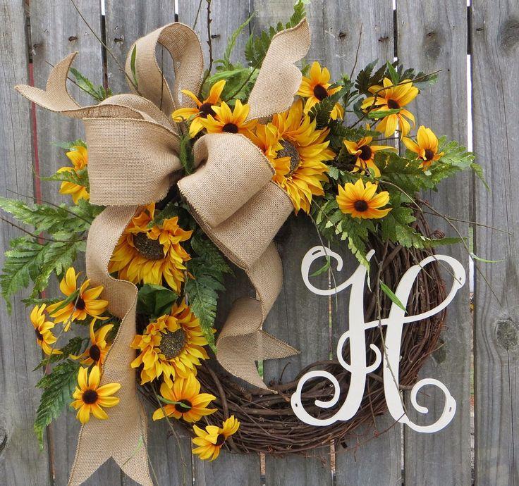 Spring / Summer Wreath, Wreath for Spring / Summer, Burlap Sunflower Wreath, Burlap Spring Monogram Wreath, Wreath with Letter, Horn's by HornsHandmade on Etsy https://www.etsy.com/listing/227056675/spring-summer-wreath-wreath-for-spring