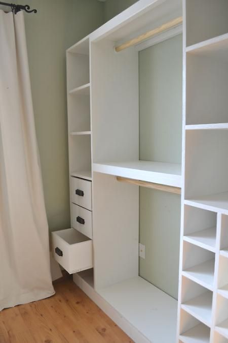 I had already planned something similiar to this to be built in the Master Bedroom Walk-in Closet Our friend Billy offered to do it for me - Nice to have some plans to cut out a bit of the legwork. Found via @Kellie Dykast