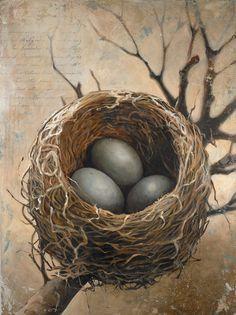 cedar waxwing vintage art | Bird Nest Painting