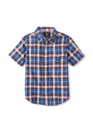 66% OFF DC Boy's Jocko Short Sleeve Button-Up (Royal Blue Plaid)