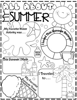 All about summer sheet that could be a brainstorming activity for writing (first week of school)