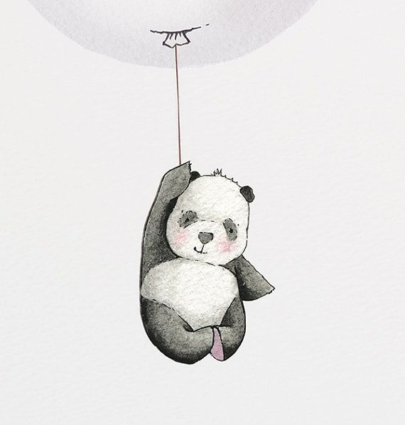 Balloon Picture Kid's Wall Art Grey Panda by DaisyandBumpArt