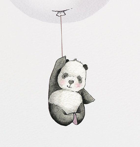 Balloon Picture Kid's Wall Art Grey Panda par DaisyandBumpArt
