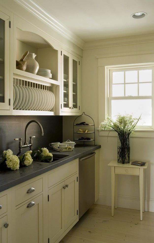 Superb Dish Rack fashion Providence Contemporary Kitchen Remodeling ideas with accent table crown molding flush cabinets frame and panel glass front cabinets gray counter