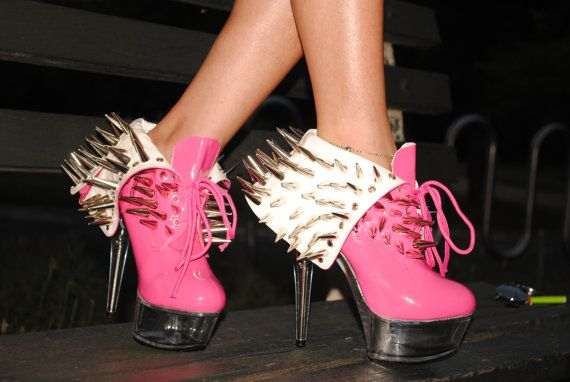 Spiked heels by Bad Bish Closet. #spikes #heels #pink #ladygaga #shoes