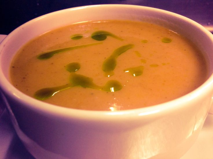Roasted pepper and basil soup.... Delicious ...
