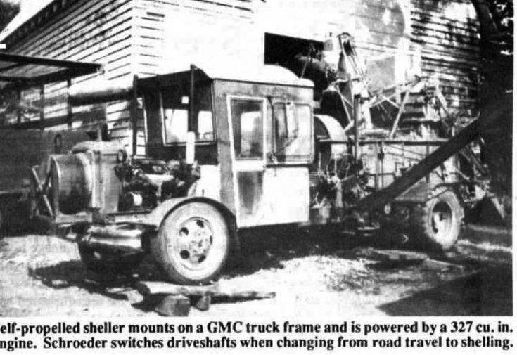 Corn Sheller This was in a paper or magazine. The guy built this sheller himself, it said. The truck Can was made from two tractor cabs mounted on an old pop truck, I think it said. The print was real hard to read. But blow the photo up and you can tell McGyver must've came from this guy.