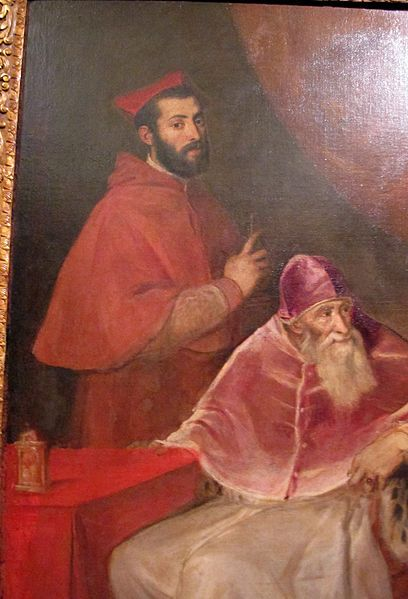 1545-46,Pope Paul III with his Grandsons Alessandro and Ottavio Farnese.(detail) Titian (1490-1576) oil on canvas.210х174cm.National Museum of Capodimonte.Q129.