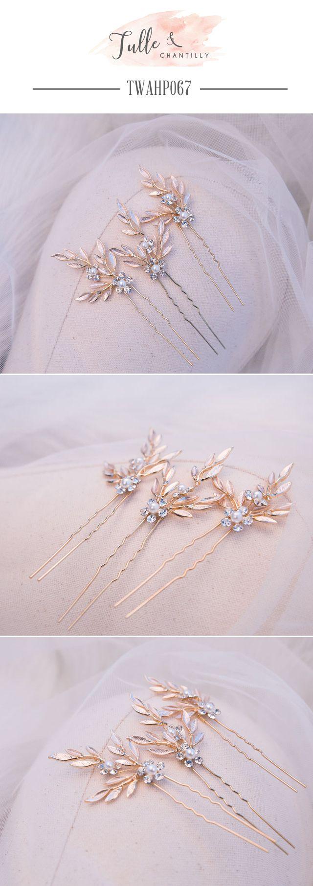 Wedding   Hair Pins Pearls leaves Rhinestones
