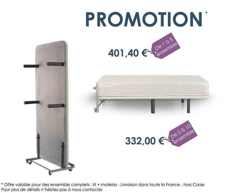 Promotion lit vertical avec matelas hôtel et collectivités magasin Lyon Roanne Marseille