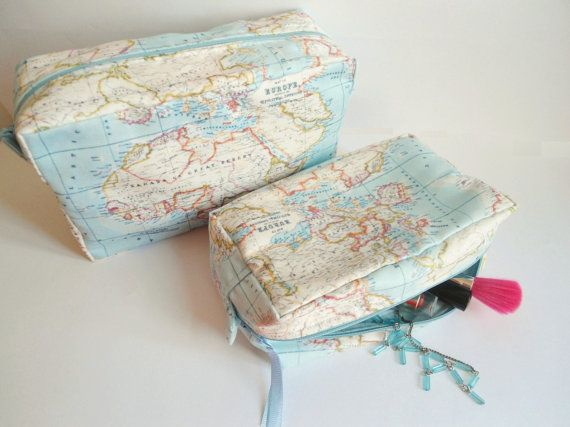 World map makeup bag, Large makeup bag, Christmas gift,Gift for her,Gift for women,Gift for wife,Gift for doctor,Large toiletry bag,Set of 2
