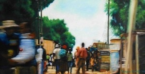 """Township Tango"", Oil on Canvas,   W: 610mm x H: 305mm x D: 35mm,  W: 24"" x H: 12"" x D: 1"" #Art #Painting #Oil #Fine_Arts #Contemporary #Benjamin_Mitchley #Figurative #South_Africa #Township_Art"