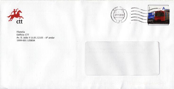 Sobrescrito circulado de Lisboa para Estoi com selo auto adesivo da emissão base transportes públicos taxa correio azul