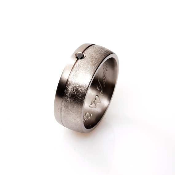 Men's Titanium wedding band with black Diamond. The ring has scratched and polished finish that give it a really unique appearance by TorkkeliJewellery, $330.00