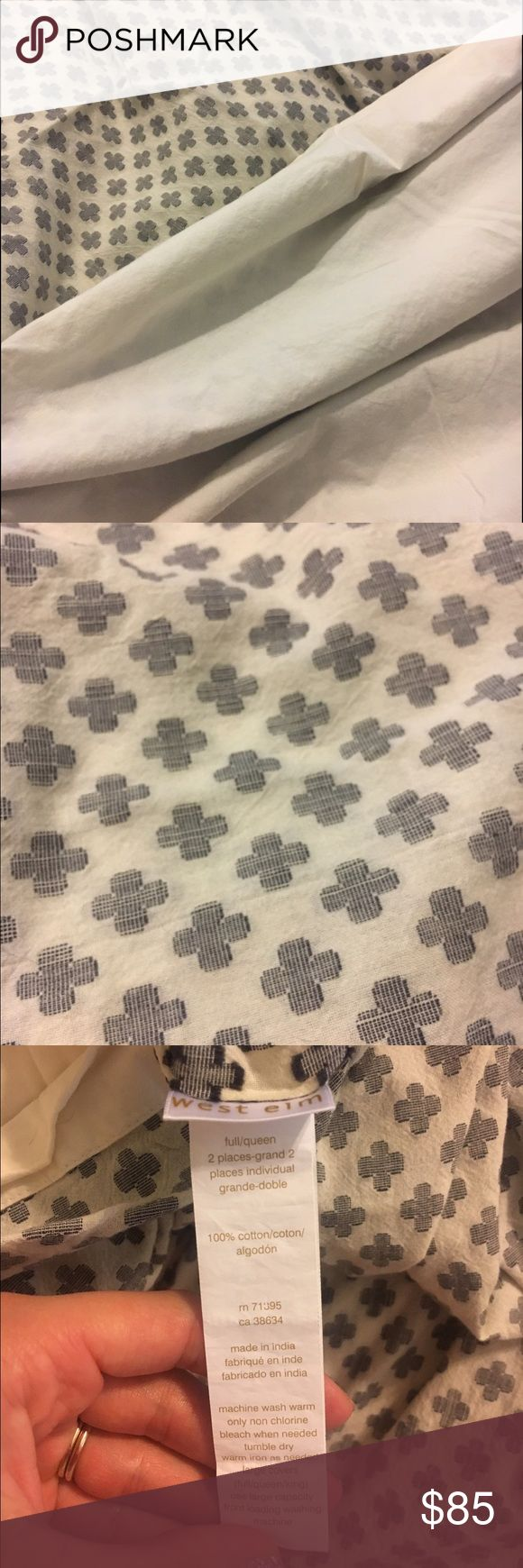West Elm duvet cover Full/Queen duvet cover. Black and cream design with all buttons intact. Great condition. West Elm Other