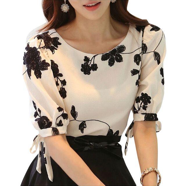 Mulheres Camisa Verão Top Floral Preto Bordado Branco Fino Chiffon Blusa Ocasional Plus Size Arco Meia Manga Da Camisa Roupas Femininas