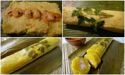 come-se: Embrulhadinho de mandioca e banana-da-terra com camarão. Quinta sem trigo 30