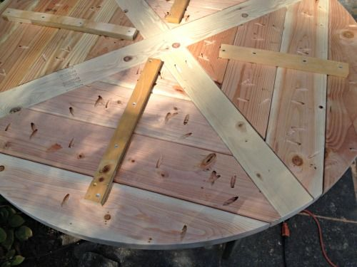 Build: diy x base circular dining table         I built this circular dining table with an x base using plans from Ana White here  and modi...