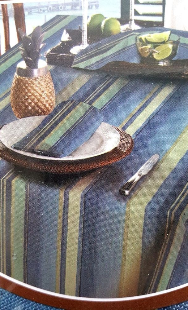 Great Tommy Bahama Indoor Outdoor Tablecloth 70 Round Blue Stripe Summer