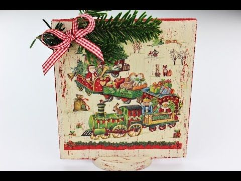 Decoupage Christmas Decorations - Wooden Board - Fast & Easy Tutorial - DIY - YouTube
