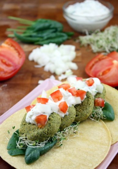 Baked Spicy Spinach Falafel with Tzatziki | The Kitchen Paper