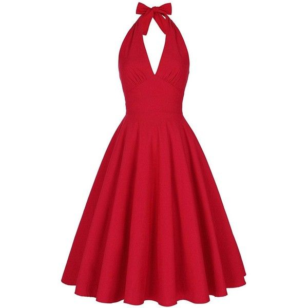 Halter Low Back Plunge Work Christmas Party Dress ($25) ❤ liked on Polyvore featuring dresses, halter-neck dress, halter dresses, red halter top dress, red cocktail dress and christmas cocktail dresses