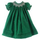 Green Smocked Christmas Dress