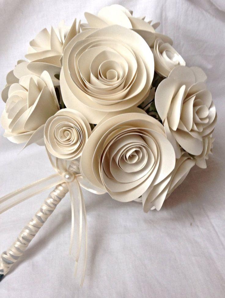 Bridal Bouquet. Bridesmaid bouquet. spring bouquet. rose bouquet. Paper roses. Ivory roses. Bridesmaid bouquet. Flower girl bouquet.