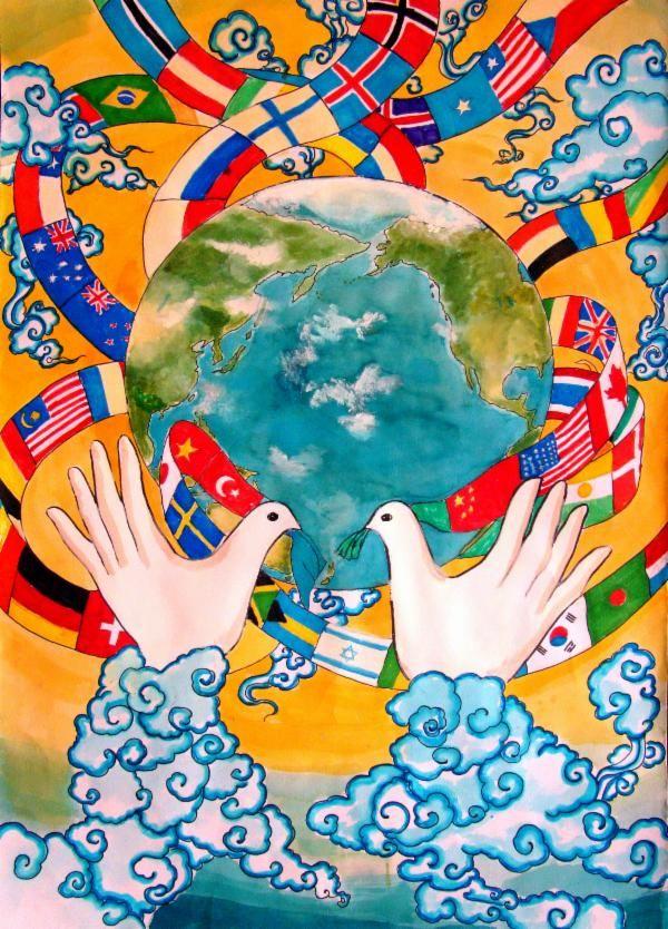 мир во всем мире картинка стекле