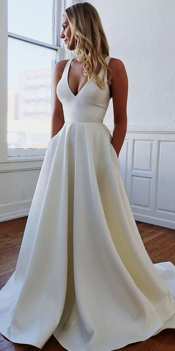 Simple Ivory Satin V Neck Wedding Dress With Bow-knot WD391