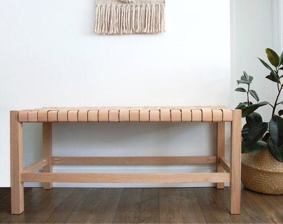Woven Leather Strap Bench Etsy End Of Bed Bench Leather