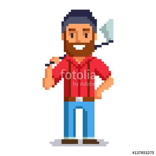 Vector: Woodcutter isolated on white background.  Lumberjack pixel game style illustration. lumberman vector pixel art design. funny 8 bit people character icon.
