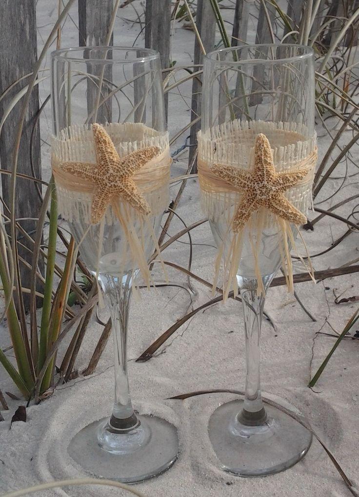 SALE...Burlap and White Finger Starfish by GigisBeachWeddings