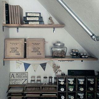 階段下収納のアトリエのインテリア実例 | RoomClip (ルームクリップ) My Shelf/収納/セリア/999円以下/暮らしの愛用品/