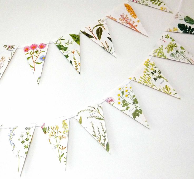 Wedding decoration, Wild Flower Bunting, Floral Garland, eco-friendly banner, upcycled paper bunting, wedding pennants by PeonyandThistle on Etsy https://www.etsy.com/listing/188476881/wedding-decoration-wild-flower-bunting