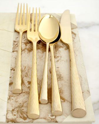 """""""Imperial Caviar"""" Gold-Plated Flatware, Five-Piece Place Setting by Marchesa at Neiman Marcus.: Gold Plates, Five Pieces Places, Imperial Caviar, Fivepiec Places, Plates Flatware, Gold Flatware, Places Sets, Marchesa Imperial, Gold Plat Flatware"""