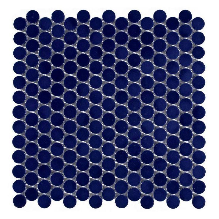 $3.99/sq Ft   Navy Blue Penny Porcelain Mosaic   10in. X 12in. Tile Bathroom  ...