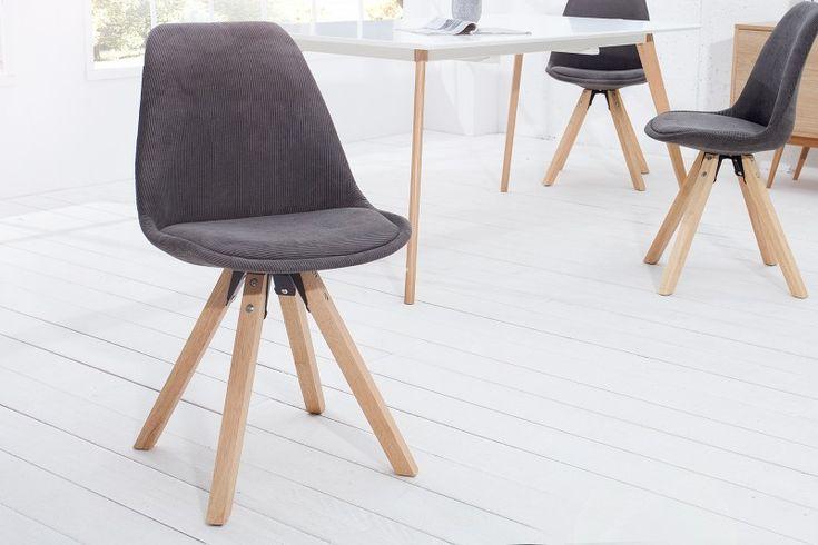 Jedálenská stolička SCENER CORD GRAY. Dinning chair in grey fabric with wood.