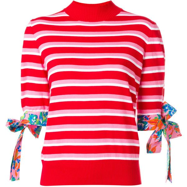 MSGM striped short sleeved jumper ($470) ❤ liked on Polyvore featuring tops, sweaters, red, striped sweater, red short sleeve sweater, floral sweater, striped jumper and short sleeve cotton sweaters