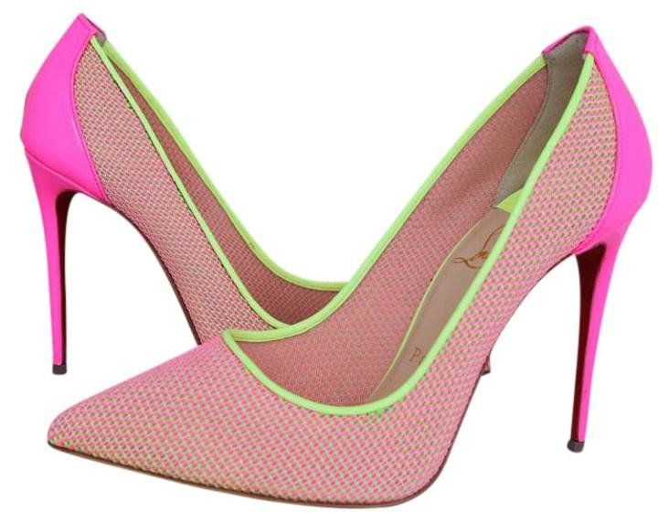 CHRISTIAN LOUBOUTIN PIGALLE FOLLIES 100 LACE MESH PINK YELLOW PUMPS SHOES 37.5 Brand New CELEBRITIES FAVORITE HARD TO GET Please ask for more sizes