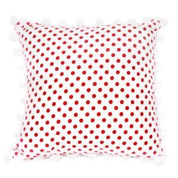 Red & White Polka cushion with pom-pom