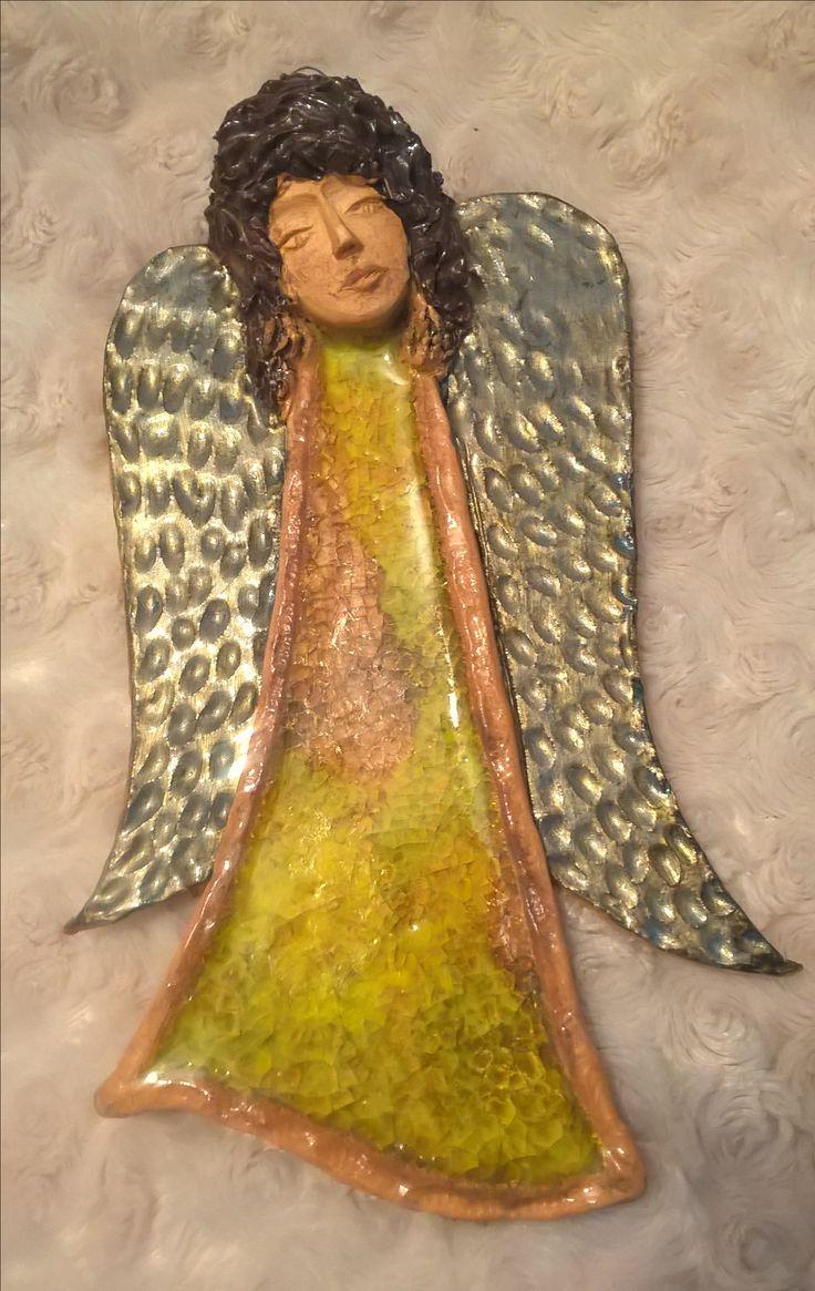 Ceramic angel with yellow glass dress keramický anděl se žlutým sklem