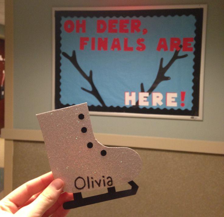 My December bulletin board + door decs!