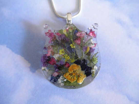 Tulip Shaped Resin Pendant with  Pansy Queen by giftforallseasons, $24.00