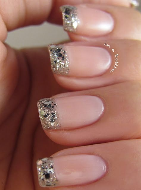 Glitter frenchNails Art, Wedding Day Nails, Nails Design, Wedding Nails, French Manicures, Glitter Nails, Nails Ideas, Glitter Tips, French Tips