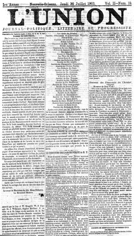 In the first issue Roudanezs L'Union published an exchange of letters between Victor Hugo and Eugene Heurtelou the editor of Haitis republican newspaper Le Progrès. The letters extolled the exploits of John Brown and predicted an end of United States slavery and a revolutionary upheaval based on the French republican ideals of liberté égalité fraternité (liberty equality fraternity.) #ADPhD #ADPhDTumblr