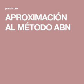 APROXIMACIÓN AL MÉTODO ABN