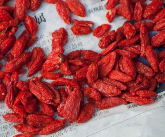 On first glance, dried goji berries look like nothing more remarkable than slightly oversized red raisins.